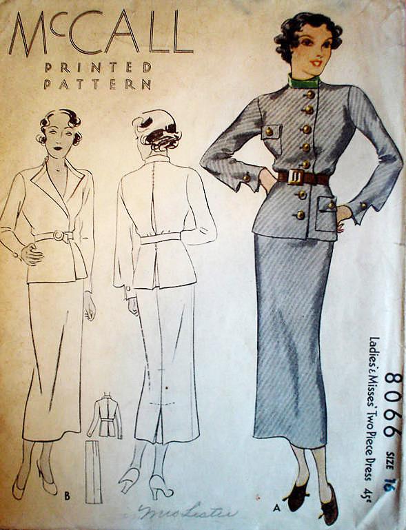 1930s McCall Pattern 8066