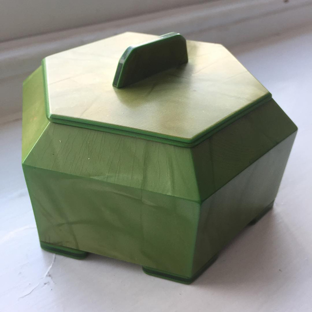 Green Bakelite trinket box