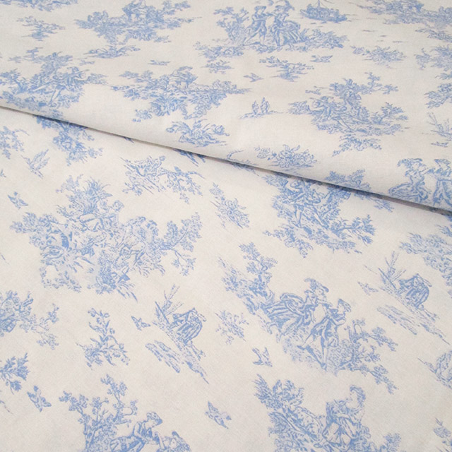 Blue Toile de Jouy Cotton Fabric