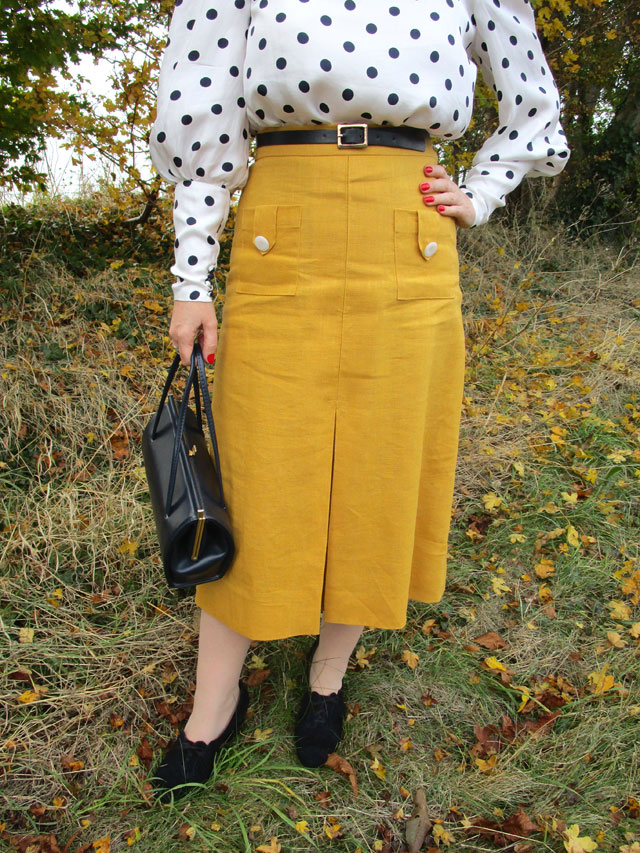 1930s mustard linen skirt