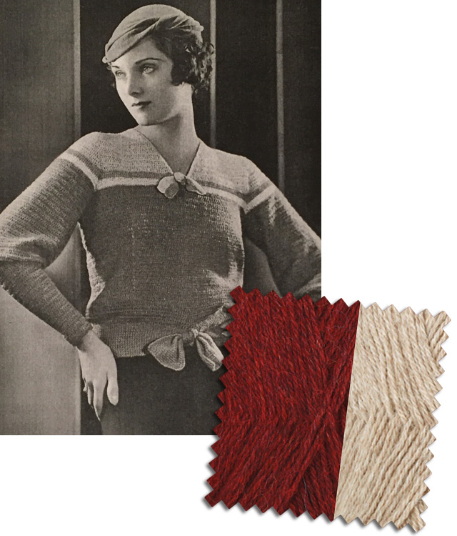1930s burgundy jumper