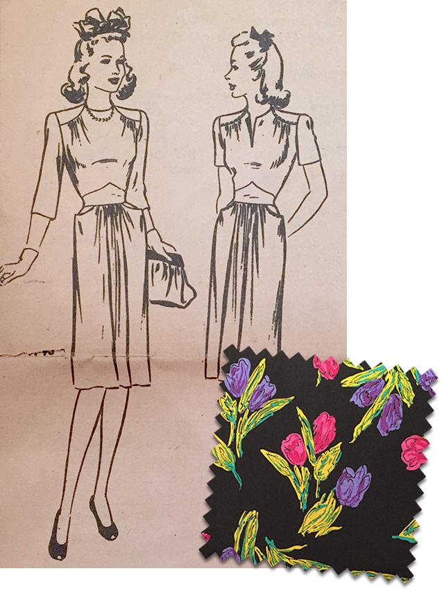 1940s black tulip print dress