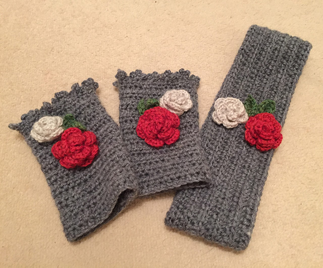 Crochet head and wrist warmers