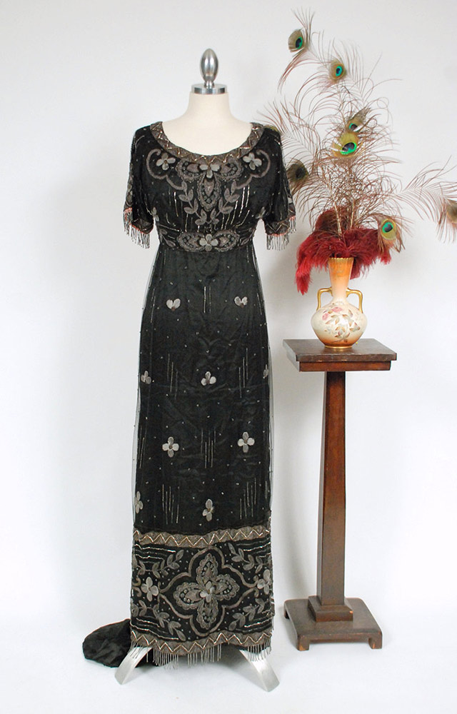 1910s beaded evening gown