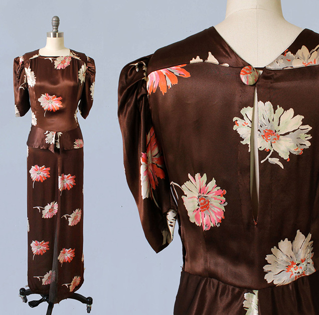 1930s brown satin dress