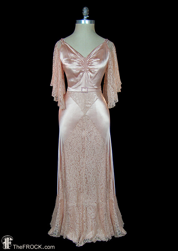 1930s pink satin dress