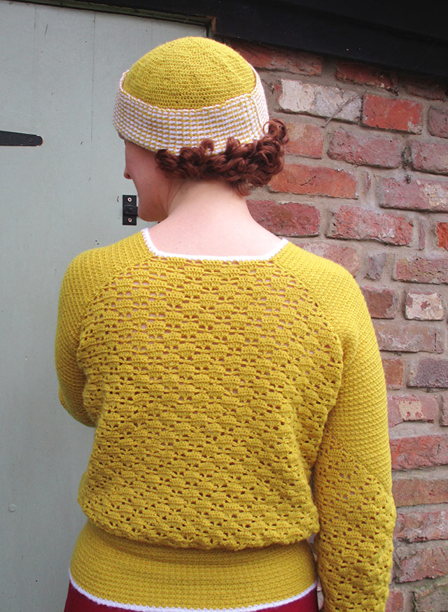 1930s crochet jumper in mustard and white