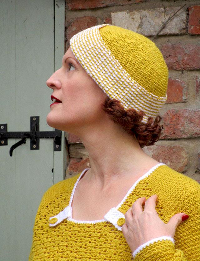 1930s mustard crochet hat