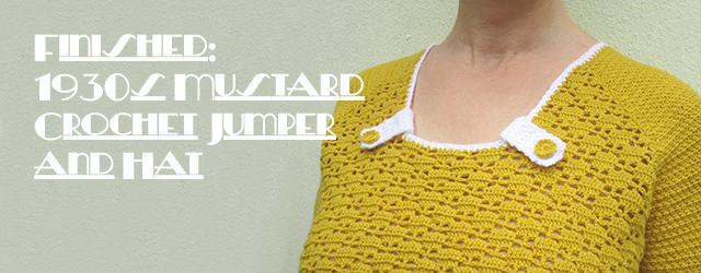 1930s mustard crochet jumper & hat