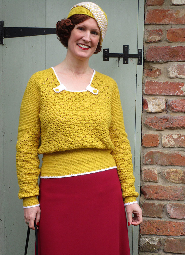 1930s mustard crochet jumper and hat
