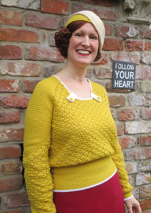 Matching 1930s crochet jumper and hat