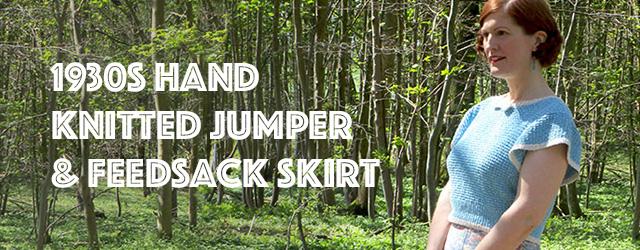 1930s handmade jumper & feedsack skirt