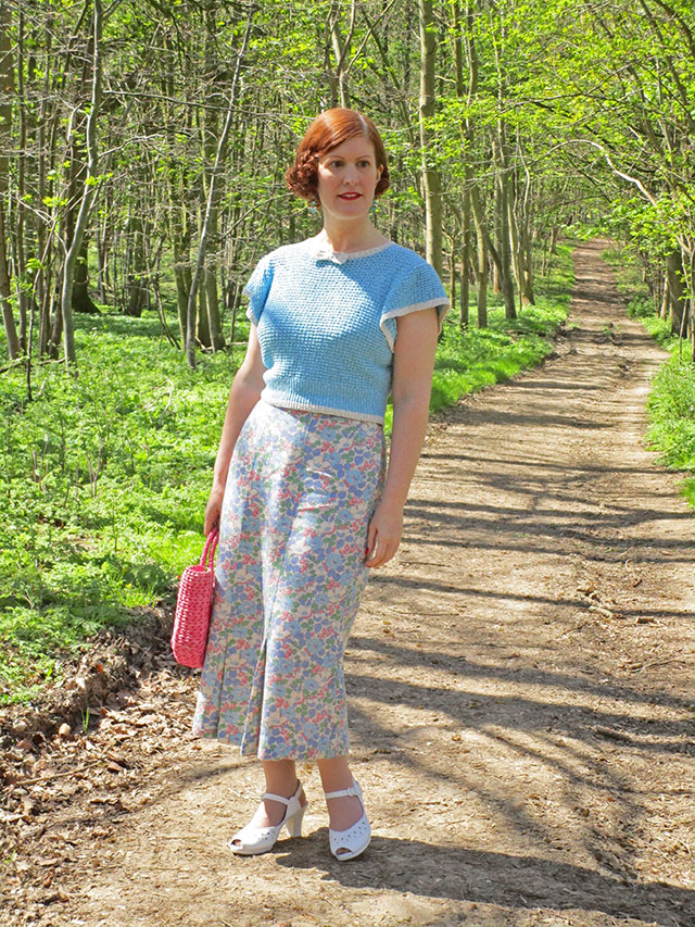 1930s hand knitted jumper and feedsack skirt