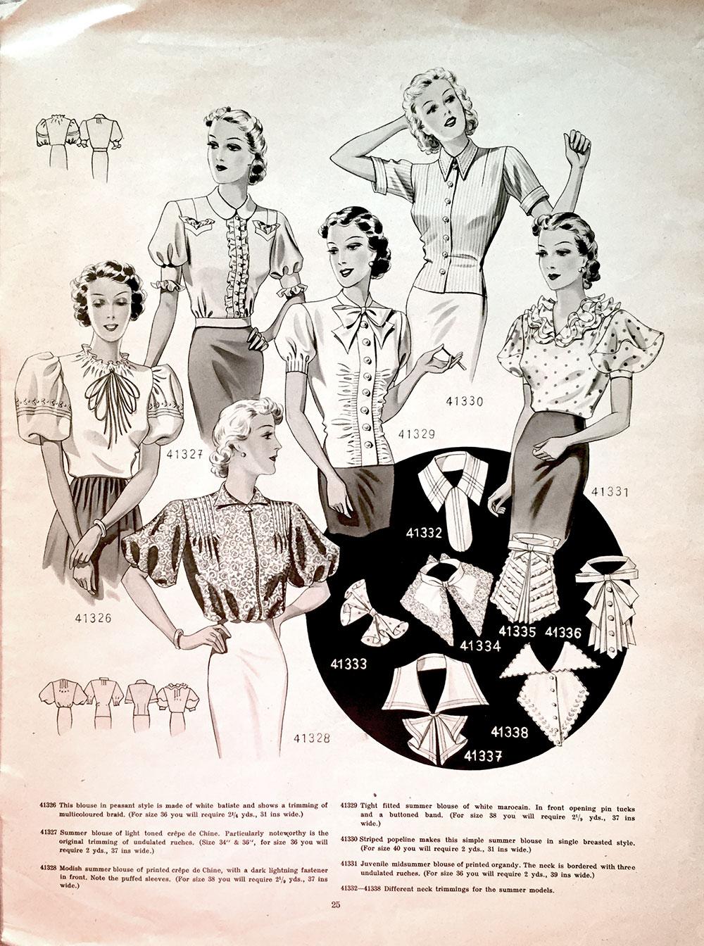 1938 blouses collars