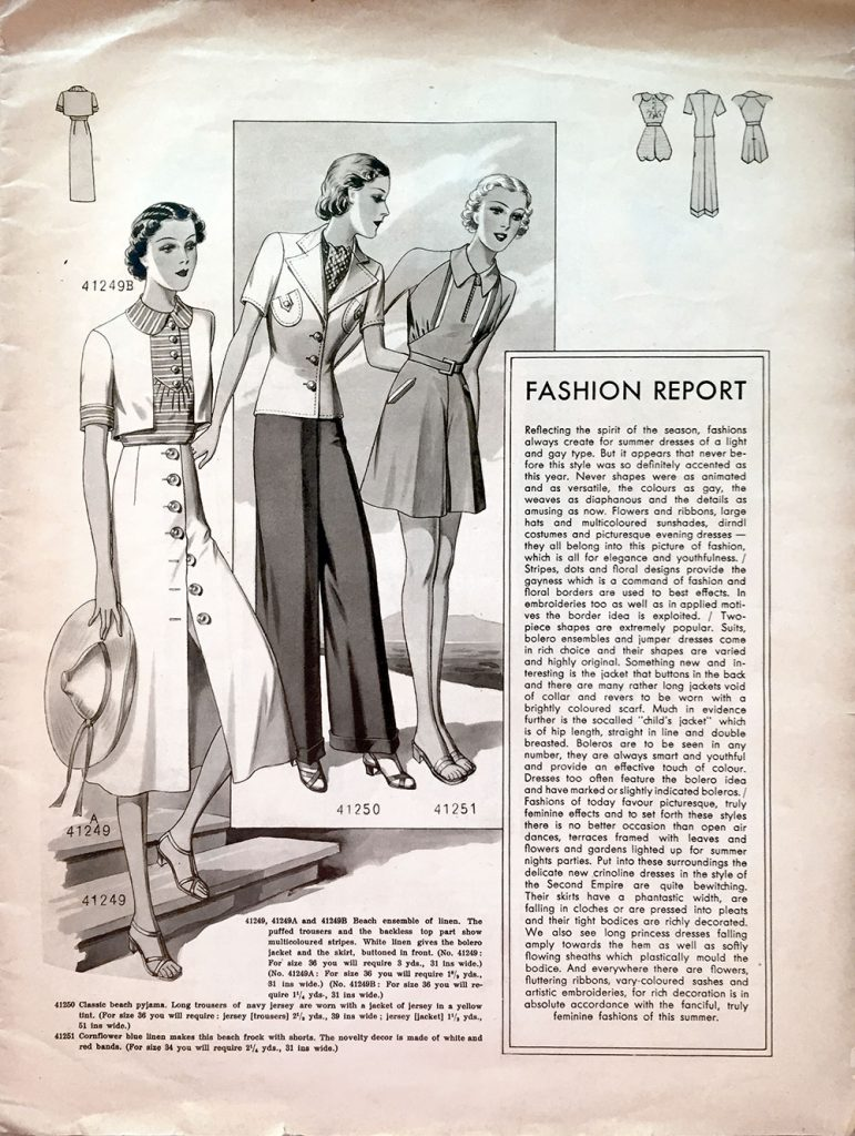 Record Fashions inside cover, July 1938