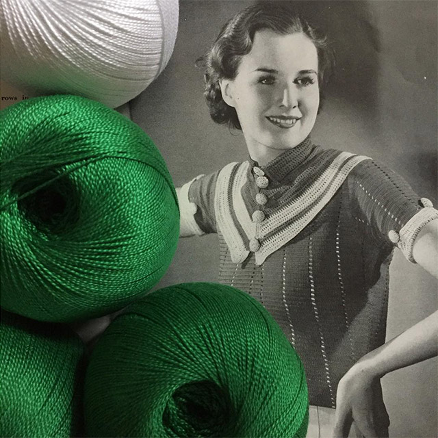 1930s crochet jumper in emerald green