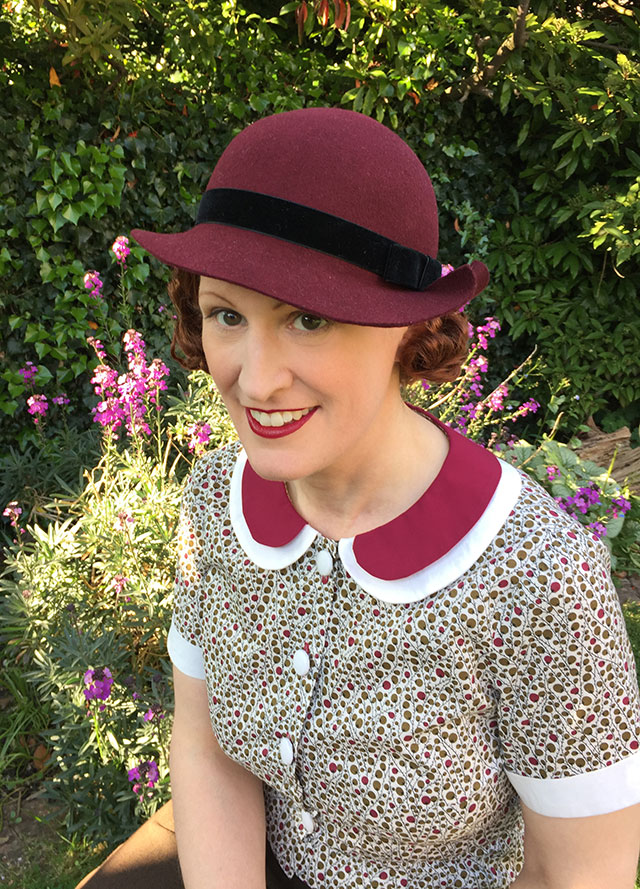 late 1930s burgundy hat