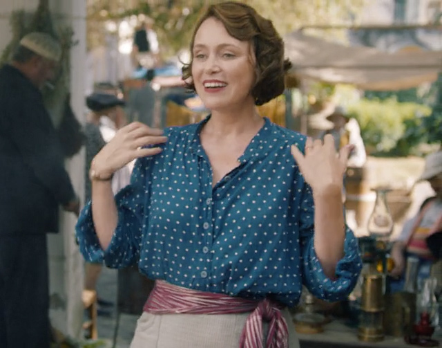 Louisa Durrell 1930s casual blue spot blouse