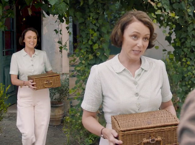 Louisa Durrell green check blouse