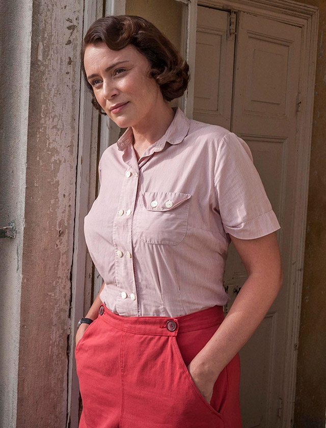 Louisa Durrell 1930s casual pink shirt and trousers