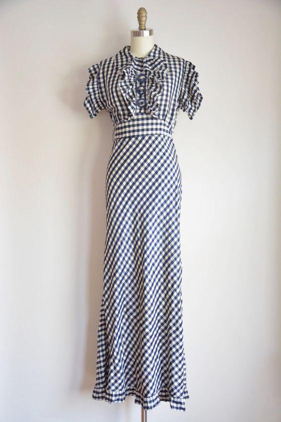 1930s gingham maxi dress
