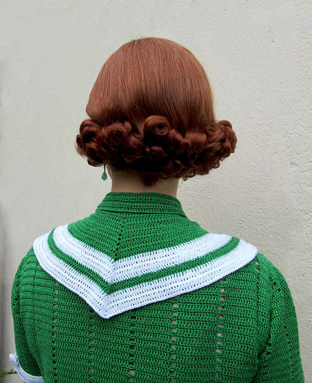 1930s Crochet Parisian Striped Blouse Collar