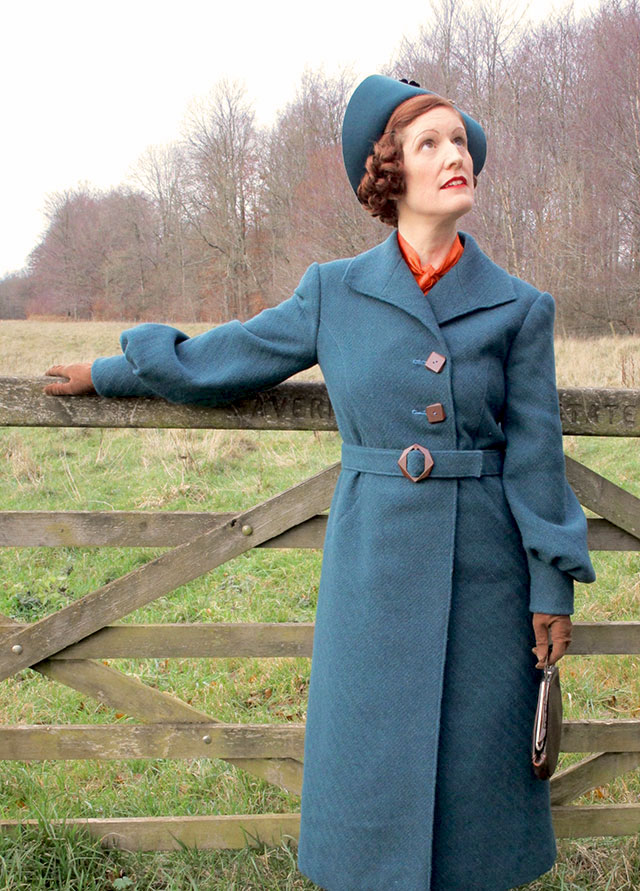 1930s winter coat in teal wool and brown