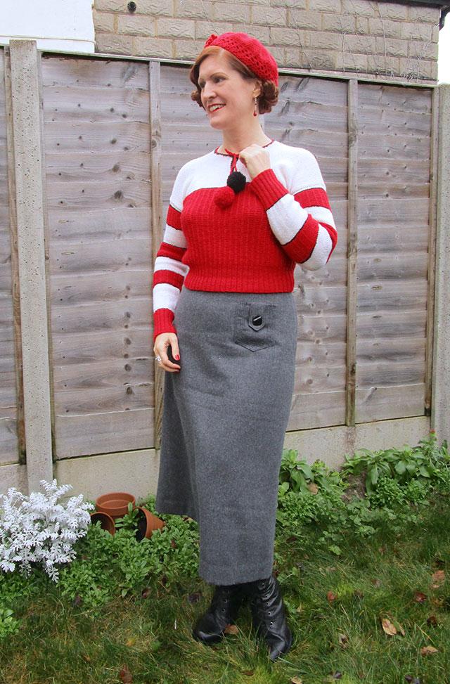 1930s Christmas jumper & grey wool skirt