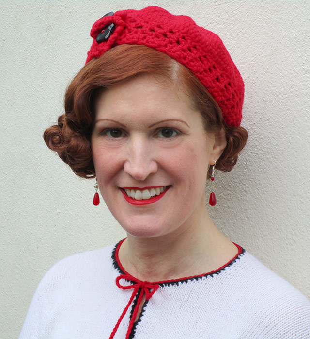 1930s red crochet beret - Joys In Stitches