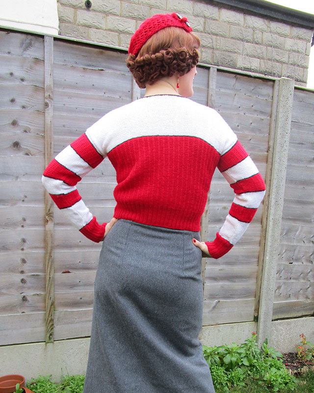 1930s red & white jumper with pom poms