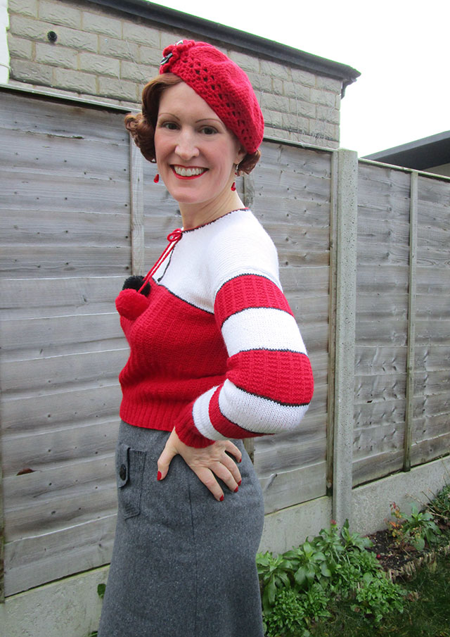 1930s Christmas jumper with pom poms