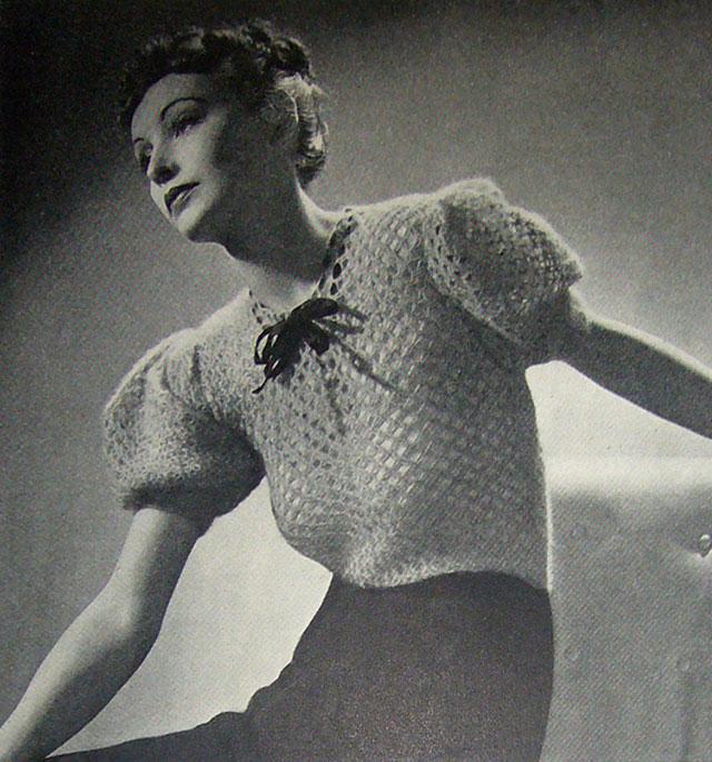 1930s angora crochet jumper