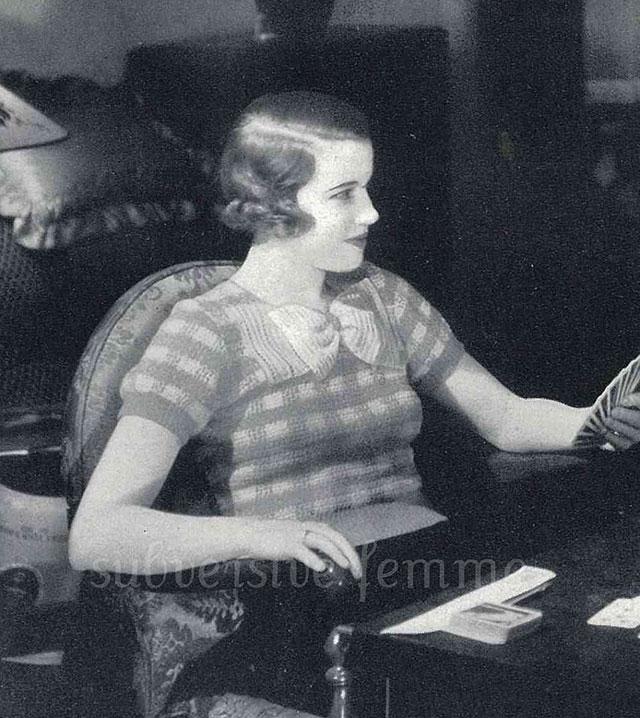 1930s checkered crochet jumper