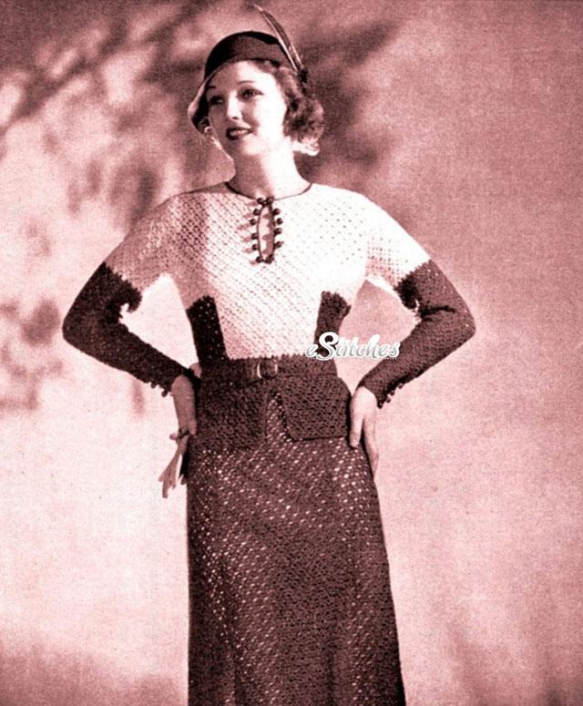 1930s crochet two piece
