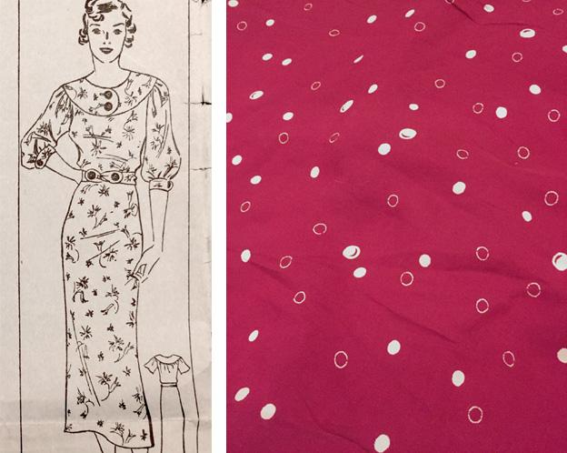 1930s deep pink dress