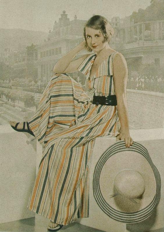 1930s stripe beach pyjamas