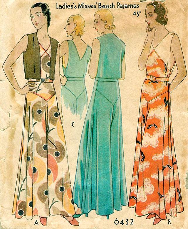 McCall 6432 - 1930s beach pyjamas