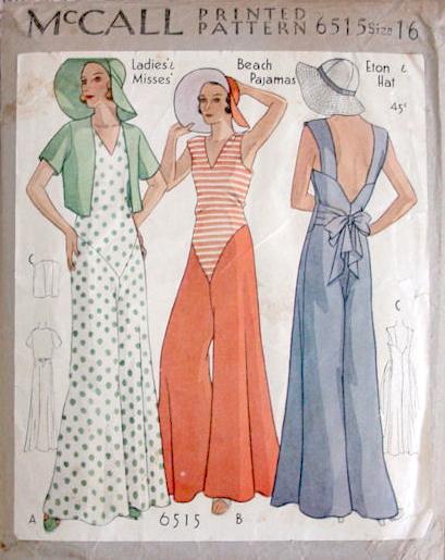 McCall 6515 - 1930s beach pyjamas