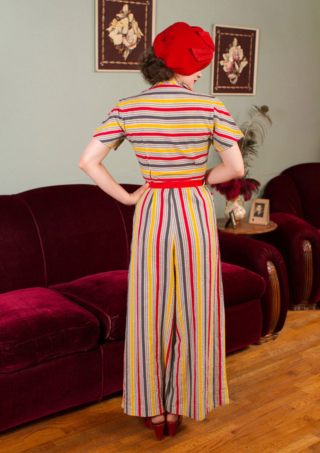 1930s stripe beach pyjamas from Fab Gabs