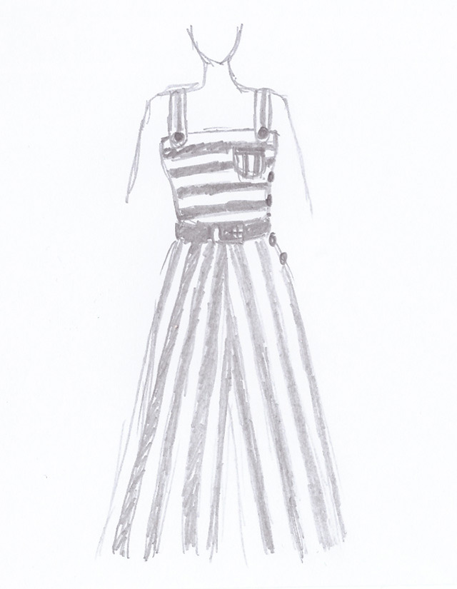 1930s beach pyjamas sketch