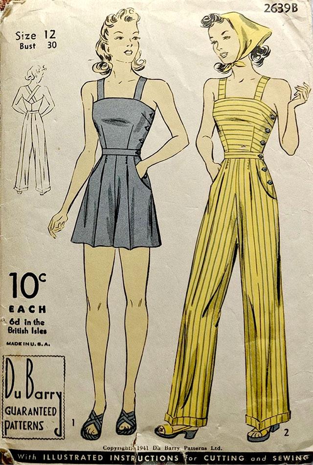 1941 beach pyjamas sewing pattern
